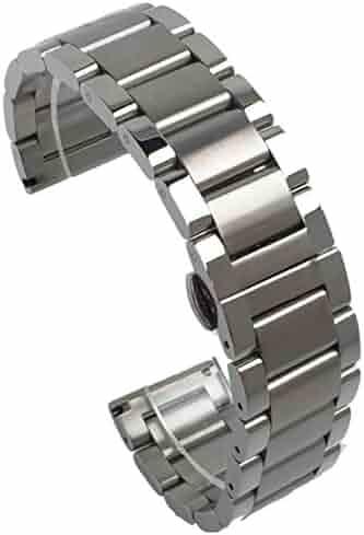 1ea537b105 (ドノロロジオ)DonOrologio 腕時計 交換用 ベルト 24mm ステンレス 三連 メタル バンド ダブルプッシュ