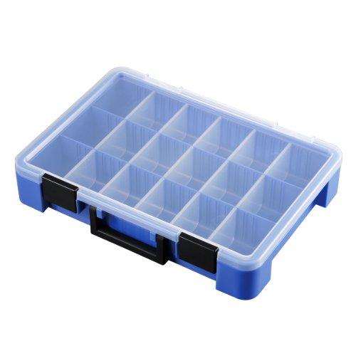 Astage(アステージ)  パーツストッカー ブルー 付属仕切板15枚付き W約40.5×D約29×H約7.8cm PS-400