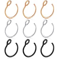 Briana Williams Fake Nose Ring, 20G Faux Piercing Jewelry 8mm Fake Nose Ring Hoop for Faux Lip Septum Nose Ring Set