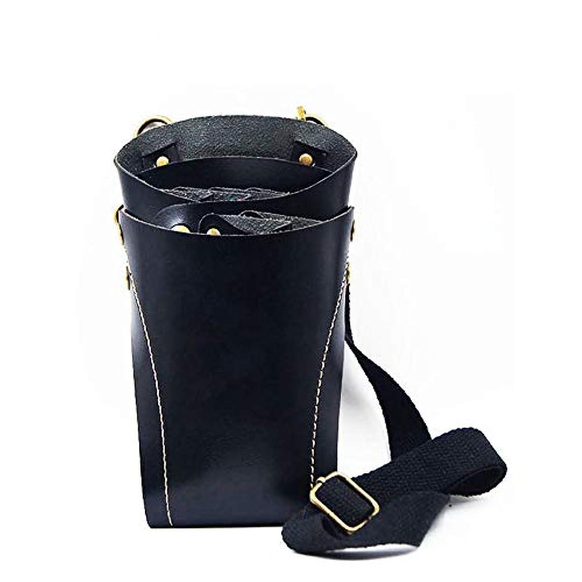 住居休戦どこにもウエストショルダーベルトリベットクリップバッグすべての革床屋はさみ理髪ホルスターポーチに最適 モデリングツール (色 : 黒)