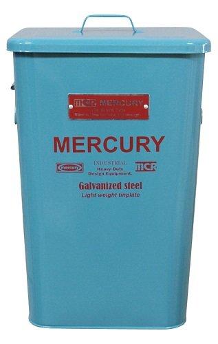 MERCURY マーキュリー スクエア ダストビン ブリキ製 ゴミ箱 BLUE GRAY ブルーグレー