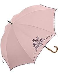 レディース 晴雨兼用傘 おしゃれな ブーケ刺繍 PUコーティング 50cm 手開き傘