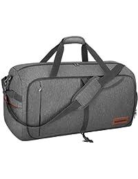 CANWAY 折りたたみバッグ ボストンバッグ スポーツバッグ 靴収納ポケット スーツケース固定 大容量 撥水加工 旅行バッグ ジム 出張 軽量 65リットル グレー