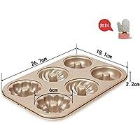 6穴 マフィン型 ベーキング ケーキ型 絶縁手袋 DIY焼型 プレート 炭素鋼モールド ケーキプレート 手作りお菓子 金色