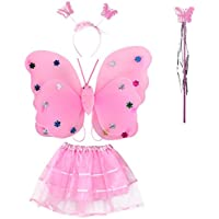 NUOLUX 4pcs/set Angle Girls Fairy Costumes Dual-layer Headband Wand Tutu Skirt Set (Pink)