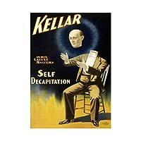 Kellar Decap Magician Self Decapitation Vintage Advert Wall Art Print 魔術師ビンテージ広告壁