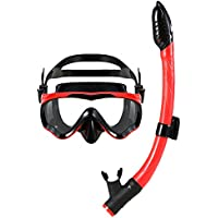 Lixada シュノーケル マスク マスク・スノーケル2点セット 曇り止め 強化ガラス 潜水眼鏡 呼吸管 フィット感 子供 大人 男女兼用