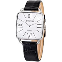 Comtex Men's Square Quartz Watches with Black Leather White Dial Roman Number Dress Watches