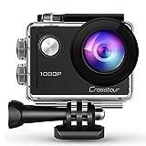 Crosstourアクションカメラ 水中カム1080PフルHD 14MP手振れ補正 タイムラプスビデオ30M防水2インチLD液晶画面 170度広角レンズ 多種多様のアクセサリー付き
