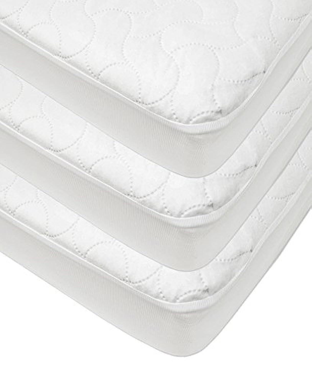 American Baby Company防水ボックスシーツベビーベッド用、幼児用保護用マットレスパッドカバー Crib and Toddler, 3 Pack ホワイト 20227