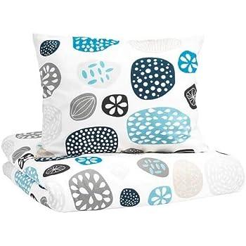 IKEA RINGKRAGE 掛け布団カバー&枕カバー ブルー ホワイト マルチカラー 150×200cm 50×60cm 00304313