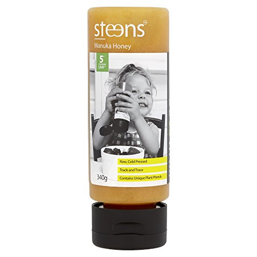Steens (スティーンズ) 100%天然 生 非加熱 マヌカハニー UMF 5+ (MGO83+) 340g 手が汚れにくいボトルタイプ (340g)