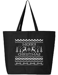 shop4ever Merry Christmas 2つトナカイHeavyキャンバストートバッグクロスステッチ再利用可能なショッピングバッグ10オンスジャンボ 25 oz ブラック S4E_1215_ChristRind2...