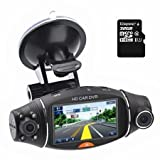 "Best KINGSTONカメラ - 車DVR 1080p 2.7"" LCD画面回転デュアルLen車DVRロードダッシュカムビデオカメラレコーダートラフィックダッシュボードレコーダーwith 32GB Kingston class10TFカード Review"
