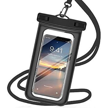 強化版 防水ケース スマホ用 スマホ 防水携帯ケース タッチ可能 iPhone X/iPhone8 plus/iPhone 7plus/Phone6 6s Plus Android 6インチ以下全機種対応 水中撮影 海水浴 お風呂 潜水 温泉 水泳など適用 (ブラック)