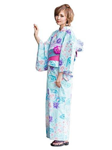 (ニューリミー) 0106 ドット バラファンシー柄 花流れ柄 高級 平織り 浴衣 帯 2点セット F 花柄ミントグリーン