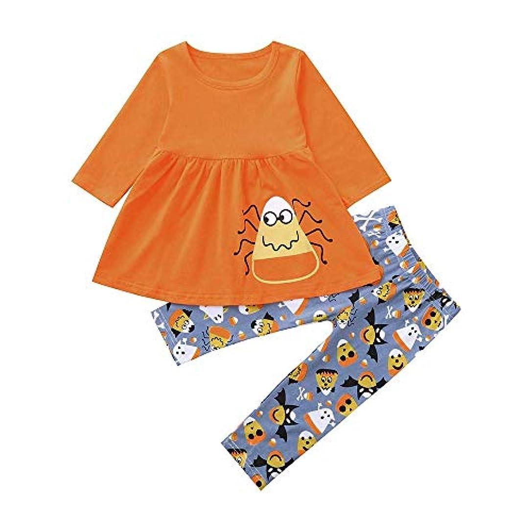 絶滅した読者謝罪するBHKK 幼児の女の子ロングスリーブプリントトップス+パンツハロウィーンの装飾セット 24ヶ月 -6 歳