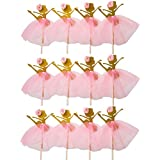 LASLU Cute Ballet Dancer Girls Fairy Peri Dessert Muffin Cupcake Toppers for Picnic Wedding Baby Shower Birthday Party Server