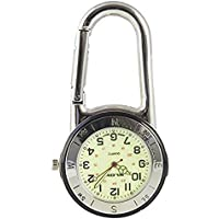 Shiny Silver Clip On Carabiner FOB Watch For Doctors Nurses Paramedics Chefs With One Extra Battery