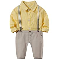 Xifamniy Boys 2pcs Gentleman Cotton Sets Plaid Romper Shirt Match Detachable Strap Pants