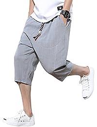 SANMIO サルエルパンツ メンズ ハーフパンツ ワイドパンツ ステテコ ショートパンツ サルエル 麻 夏 しちぶ丈 パンツ 七分丈 クロップドパンツ ファッション カジュアル ズボン 半ズボン おしゃれ 袴パンツ 調整紐 ゆったり 通気性 大きいサイズ