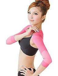 IYUNYI 女性 姿勢 矯正 二の腕シェイプケア 猫背矯正 肩サポーター 補正下着 補正インナー 二の腕痩せ 二の腕シェイパー (ピンク, XL)