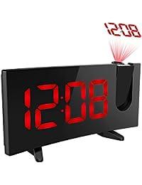 Holfe 目覚まし時計 投影 置き時計 プロジェクター アラーム 卓上 デジタル液晶ディスプレイ スヌーズ ダブルアラーム ラジオ 76-108MHz レッド