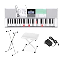 CASIO LK-512 光ナビゲーションキーボード 61鍵盤 白スタンド・白イスセット カシオ