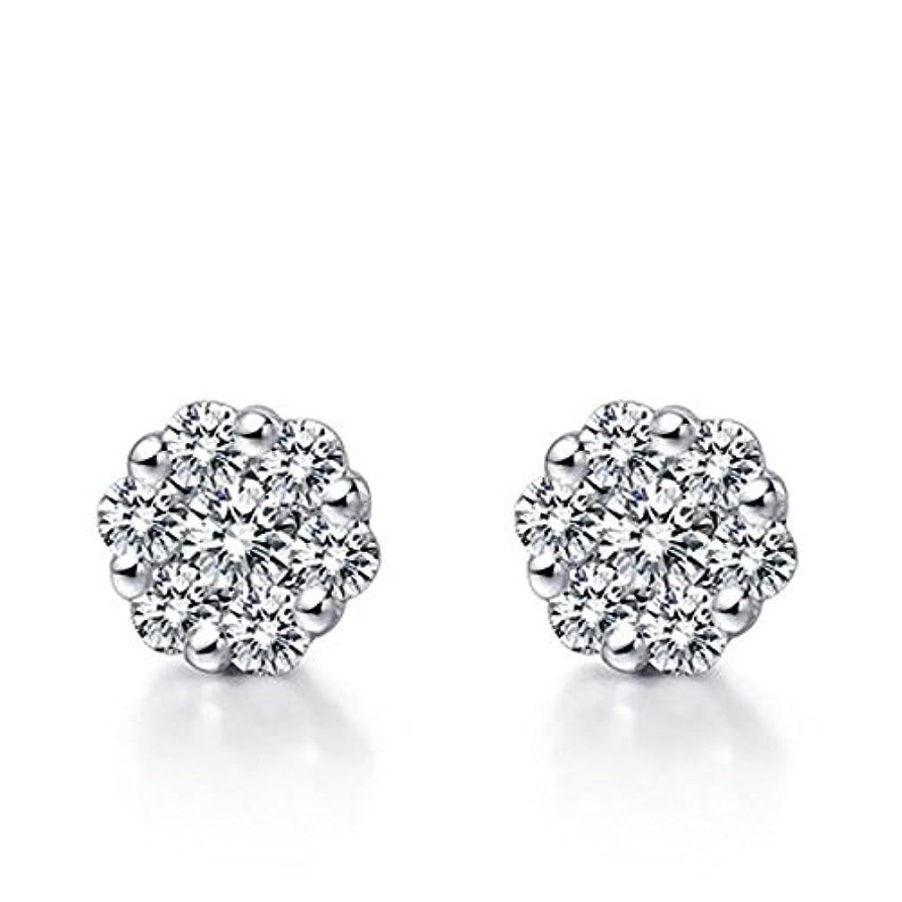群れギャンブル結婚したsilverczjewels 14 KホワイトゴールドFNホワイトSimダイヤモンドファッションクラスタスタイルスタッドイヤリング
