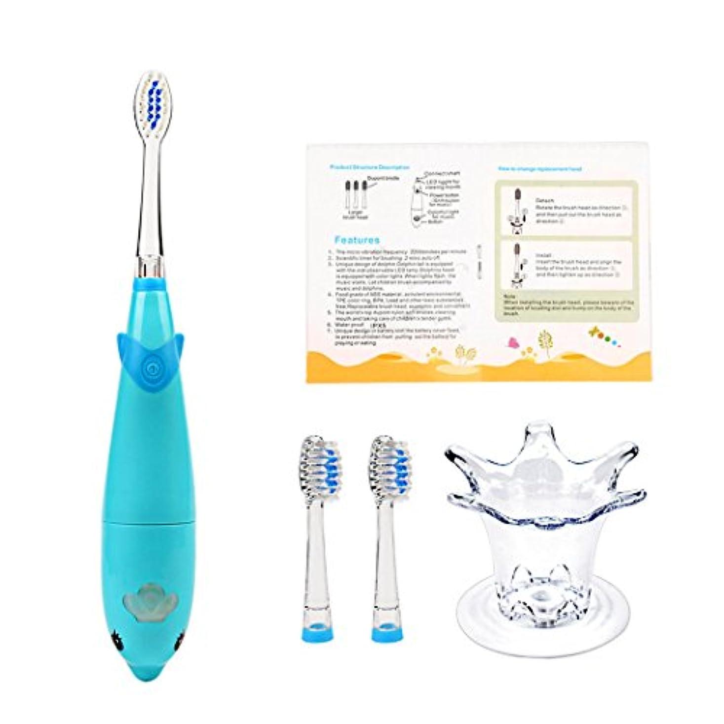 レイアウトインクシンジケート電動歯ブラシ こども用 音波振動歯ブラシ 軽量 LED付 防水防電 音楽 替えブラシ2本 (ブルー)