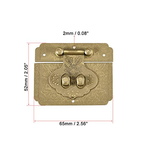uxcell Wood Case Box Rectangle Hasp 65x52mm Closure Brass Antique Latches Bronze, 2 Pcs