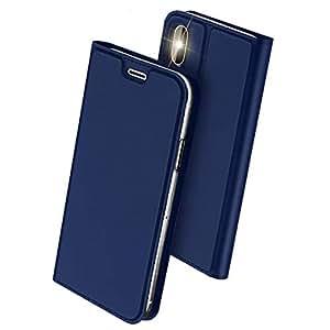 iPhone Xs ケース/iPhone X ケース 手帳型 スマホケース 合皮レザー 超薄型 カード収納 ワイヤレス充電対応 マグネット スタンド機能 耐衝撃 (iPhone Xs / iPhone X, ブルー)