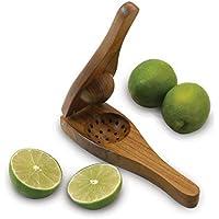 Chanaksha Trading 木製レモン絞り器 木製レモン絞り器 ハンドジューサー 手動シトラスプレスジューサー ライムとレモン絞り器 サイズ3 カラーブラウン