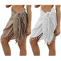 Tobrief Women's Beach Cover Up Sarong Pareo Swimsuit Wrap Short Skirt with Tassel