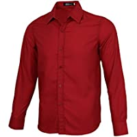 HOMYL Men Luxury Shirt Business Work Office Wear Smart Button up Long Sleeves Formal Casual Plain Dress Shirts L - 2XL