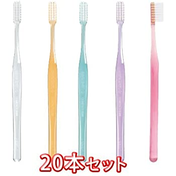 プロスペック 歯ブラシ プラス コンパクトスリム 20本入 クリアー色 毛の硬さ ふつう