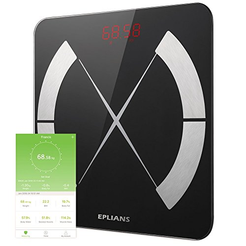 EPLIANS 体組成計 体重計 体脂肪率 体水分量 推定骨量 基礎代謝 筋肉量 BMIなど測定可能 Bluetooth接続 スマホ連動 android&ios アプリ対応 高精度