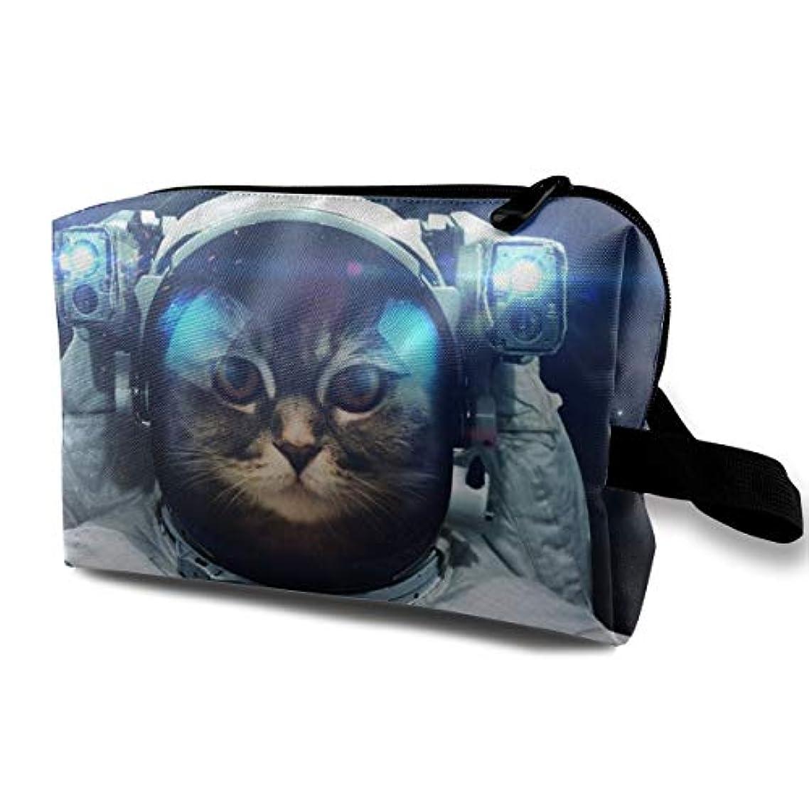 マルコポーロ大胆な不機嫌そうなAstronaut Cat Nebula 収納ポーチ 化粧ポーチ 大容量 軽量 耐久性 ハンドル付持ち運び便利。入れ 自宅?出張?旅行?アウトドア撮影などに対応。メンズ レディース トラベルグッズ
