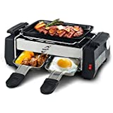 1000W High Power Non-stick Family Barbecue Electric Raclette Grill Smokeless Grill Raclette Pan Electric Griddle, silver & bl