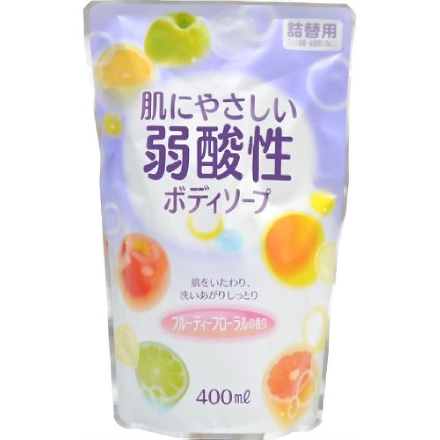 無声で滑るアミューズメント弱酸性ボディソープ フルーティーフローラルの香り 詰替用 400ml