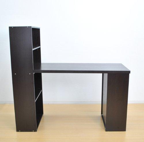(DORIS) ラック付きデスク 【パレスト ブラウン】 学習机 パソコンデスク 収納棚 キズや汚れに強いメラミン塗装仕上げ 組立式 横幅:120cm