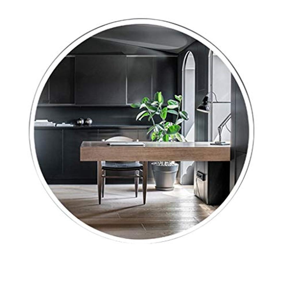 潜む地球振り向くTYJ-JP 鏡化粧鏡 HD化粧台壁掛け装飾丸型鏡シンプル壁掛け鏡北欧風パンチフリーガラス鏡 (Color : 白, Size : 50*50cm)