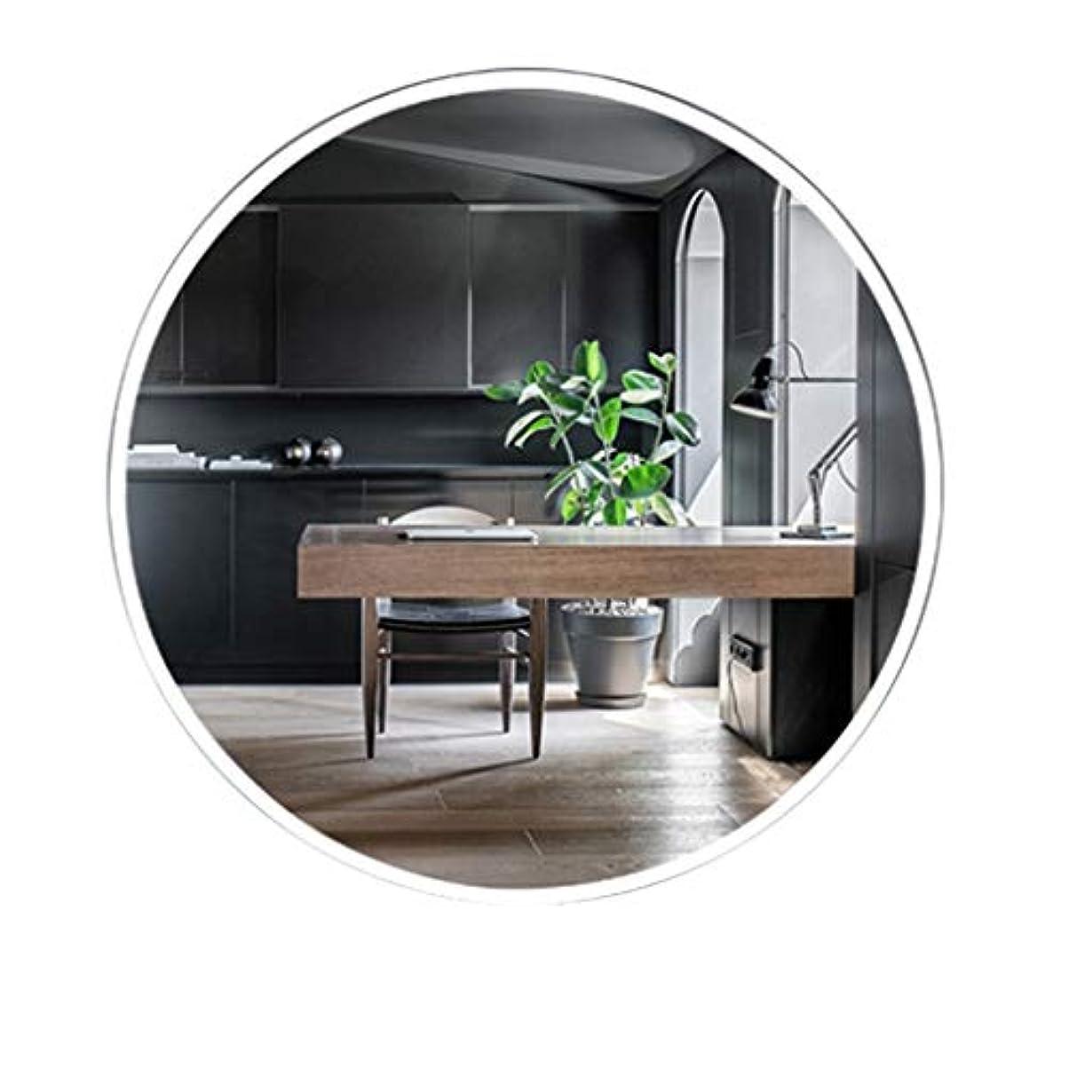 音征服スチュワーデスTYJ-JP 鏡化粧鏡 HD化粧台壁掛け装飾丸型鏡シンプル壁掛け鏡北欧風パンチフリーガラス鏡 (Color : 白, Size : 50*50cm)