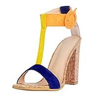 KolnooレディースハンドメイドシックヒールGストラップサマーシックヒールファッションサンダルシューズ (23.0cm)