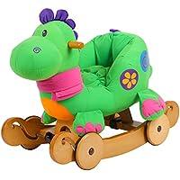 Labebe 子供用ロッキングホース キッズ用トロイ木馬 乗用おもちゃ 柔らかいシート - グリーン恐竜