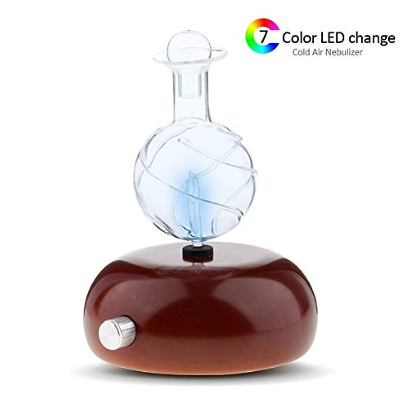 歌詞多数のかんたん家庭用エッセンシャルオイルディフューザー、アロマエッセンシャルオイルクールミスト加湿器水なし自動シャットオフおよび7色LEDライト,A
