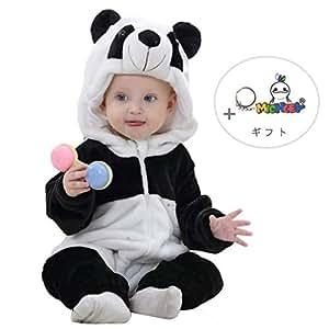 ベビー キッズ用 カバーオール フード付き 着ぐるみ 春と秋 ロンパース オーバーオール 子ども服 もこもこ 防寒着 (90CM(13-18ヶ月), Panda)