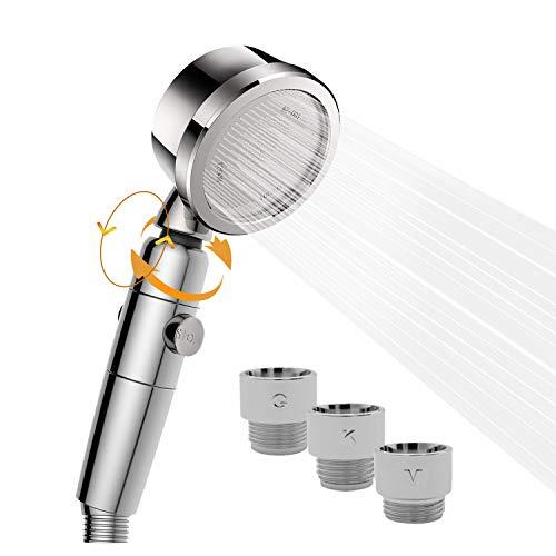 JSK フリオン シャワーヘッド 節水 増圧 手元止水 3D回転機能 浄水 優し水流 説明書付き アダプター付き