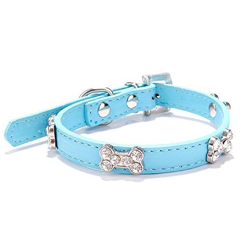 YideaHome 中小犬用首輪 ペット首輪 犬 小型犬 中型犬 きらきら可愛い 骨 ダイヤモンド 骨形 調節可能 おしゃれ 萌え