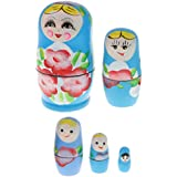 Flameer 5pcs Handmade Wooden Russia Nesting Babushka Dolls Gift Russian Nesting Wishing Dolls Matryoshka Traditional Decor - Blue